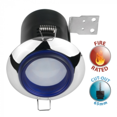 Fire Rated GU10 Downlight with Chrome/Frosted Blue Glass Bezel