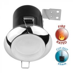 Fire Rated GU10 Downlight with Chrome/Frosted White Glass Bezel