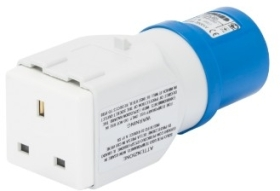 Gewiss 13A IP44 IEC309 2P+E Blue Industrial Conversion Adaptor Socket Outlet with Plug 230V (British