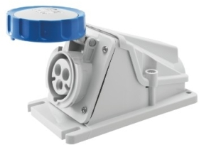 Gewiss 16A IP67 IEC309 2P+E Blue 90 degree Watertight Mounting Socket Outlet with Screw Wiring 230V