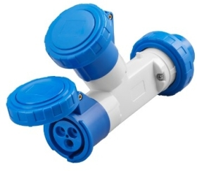 Gewiss 16A IP67 IEC309 2P+E Blue Industrial Multiple 2 Socket Couplers Outlets with Plug 230V