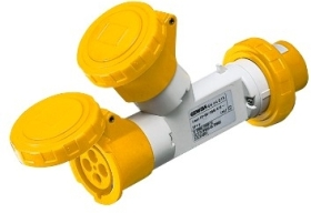 Gewiss 16A IP67 IEC309 2P+E Yellow Industrial Multiple 2 Socket Couplers Outlets with Plug 110V