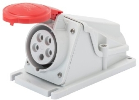 Gewiss 32A IP44 IEC309 3P+N+E Red 90 degree Angled Surface Mount Sockets Screw Wiring 400V