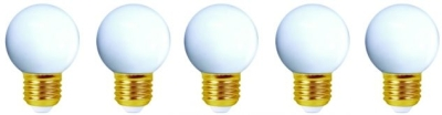 Girard Sudron 1W E27 LED White Golfballs 5 Pack IP44 Very Warm White (Pearl Finish – 5W Alternative)