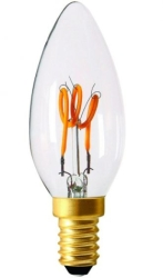 Girard Sudron 3W E12 Dimmable C35 Clear Candle LED Filament Bulb 3 Loops 120V Very Warm White