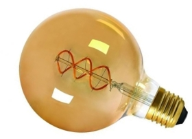 Girard Sudron 4W Dimmable Amber Globe G125 Decorative Filament LED Twisted E27 200lm Very Warm White