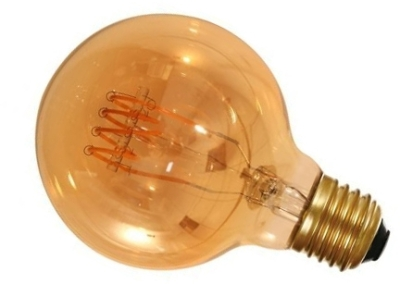 Girard Sudron 4W Dimmable Amber Globe G80 Decorative Filament LED 4 Loops E27 200lm Very Warm White