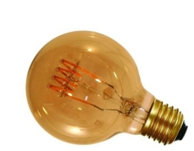 Girard Sudron 4W Dimmable Amber Globe G95 Decorative Filament LED 4 Loops E27 200lm Very Warm White