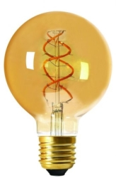 Girard Sudron 5W E27 Amber Globe G95 Twisted LED Filament Very Warm White