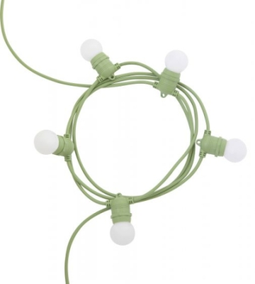 Girard Sudron 5m Green Festoon Light 5x E27 Lamp holders IP44 (EU Plug, Lamps Not Included)