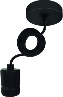Girard Sudron Black Threaded metal Pendant 60W E27 – 2m Textile Cable (Compatible With Lampshades)