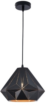 Girard Sudron Conical Angular Metal Graphic Pendant Lampshade – E27 Black Exterior / Gold Interior –