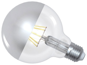 Girard Sudron Dimmable 8W Crown Silver ES LED Filament G95 Globe
