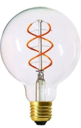 Girard Sudron Globe G95 Filament LED Twisted 4W E27 240lm 2200K Clear Dim