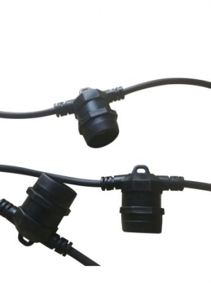 Girard Sudron IP44 E27 Outdoor Black Festoon Belt 10m Non-dimmable Light Belt 10 Sockets