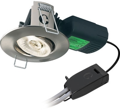 H4 PRO700 T 11W Warm White Dimmable LED Adjustable Fire Rated IP65 (Brushed Steel - 38 Degree)