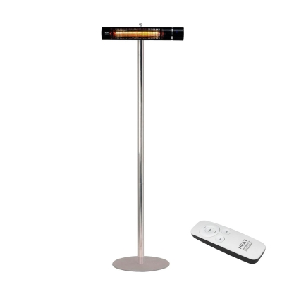 Heat Outdoors Black 1.5kW Shadow Remote ULG on Stainless Steel Pole