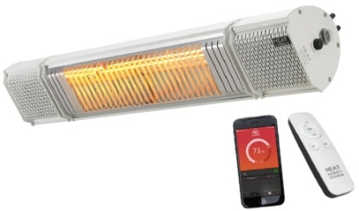 Heat Outdoors Heat and Beat 2KW Patio Heater with Bluetooth Speakers in Silver