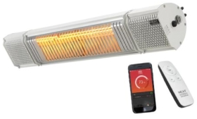 Heat Outdoors Heat and Beat 2KW Patio Heater with Bluetooth Speakers in White