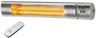 Heat Outdoors IP65 2KW Shadow Patio Heater with Remote Control in Silver