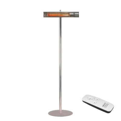 Heat Outdoors White 2kW Shadow Remote ULG on Stainless Steel Pole
