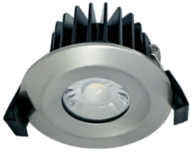 Integral Satin Nickel Dimmable LED Downlight 10w IP65 Fire Rated (Warm White - 60 Degree)