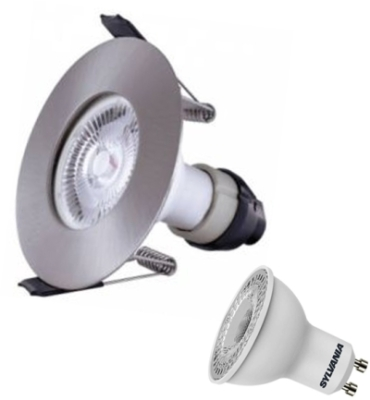Integral Satin Nickel Evofire Fire Rated LED Downlight IP65 With LED GU10 Lamp (Cool White)