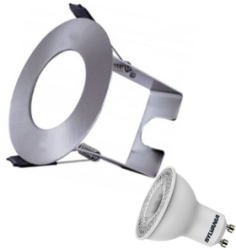 Integral Satin Nickel Evofire Fire Rated LED Downlight IP65 With LED GU10 Lamp & Insulation Guar