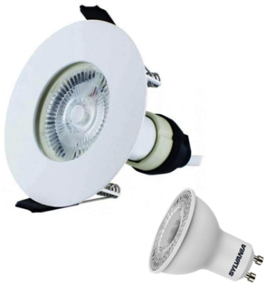 Integral White Evofire Fire Rated LED Downlight IP65 With LED GU10 Lamp (Warm White)