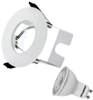 Integral White Evofire Fire Rated LED Downlight IP65 With LED GU10 Lamp & Insulation Guard (Warm