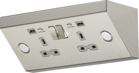 Knightsbridge 13A 2G Mounting Double Pole Socket with Dual USB Charger (Stainless Steel with Grey In