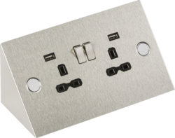 Knightsbridge 13A 2G Stainless Steel Mounting Switched Socket with Dual USB Charger (2.4A)