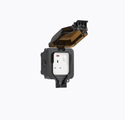 Knightsbridge 13A DP IP66 1 Gang Black Outdoor Switched Socket (W/ Neon)
