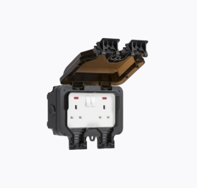 Knightsbridge 13A DP IP66 2 Gang Black Outdoor Switched Socket (W/ Neon)