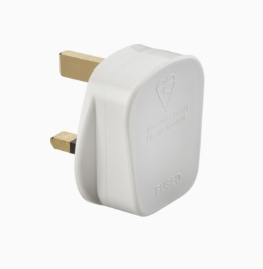 Knightsbridge 13A White Plug (With 13A Fuse + Screw Cord Grips)