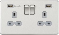 Knightsbridge Brushed Chrome & Grey 13A 2 Gang DP Switched Socket with Dual Type-A FastCharge USB Ch