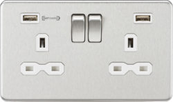 Knightsbridge Brushed Chrome & White 13A 2 Gang DP Switched Socket with Dual Type-A FastCharge USB C
