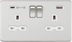Knightsbridge Brushed Chrome & White 13A 2 Gang DP Switched Socket with Dual Type-C FastCharge USB C