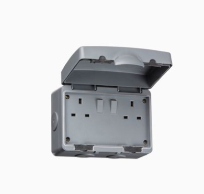 Knightsbridge IP66 13A 2 Gang DP Switched Socket