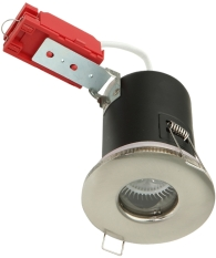 Knightsbridge Low Voltage IP65 Fire Rated MR16 Fixed Downlight Brushed Chrome