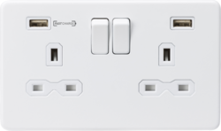 Knightsbridge Matt White 13A 2 Gang DP Switched Socket with Dual Type-A FastCharge USB Charging Port