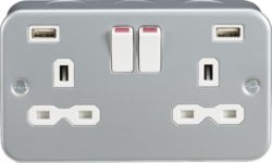 Knightsbridge Metal Clad 13A 2 Gang Switched Socket with Dual USB Charger (2.4A)