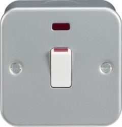 Knightsbridge Metal Clad 20A 1 Gang DP Switch with Neon