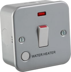 Knightsbridge Metal Clad 20A 1 Gang DP Switch with Neon & Flex Outlet with Label 'Water Heater'