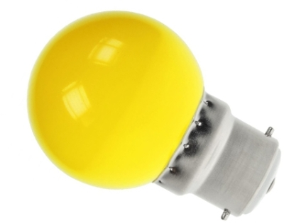 LED Golfball 1.5W BC Yellow (5 Watt Alternative)