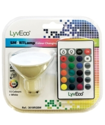 LyvEco 5W GU10 Colour Changing Smart LED Bulb with Remote Control