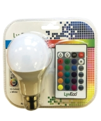 LyvEco 9W A60 GLS BC/B22 Colour Changing Smart LED Bulb with Remote Control