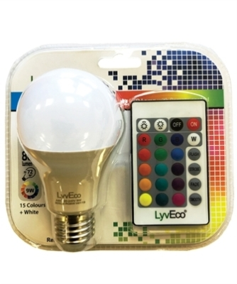 LyvEco 9W A60 GLS ES/E27 Colour Changing Smart LED Bulb with Remote Control