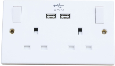 Lyvia 13A 2 Gang White Switched Sockets with 2 x USB Charging Ports