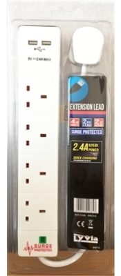 Lyvia 2 Metre 13A 4 Gang Extension Socket Lead with Surge Protection and 2 x USB Ports